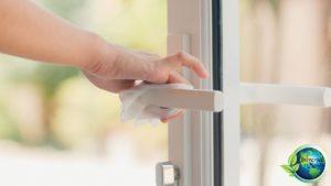cleaning the door knobs