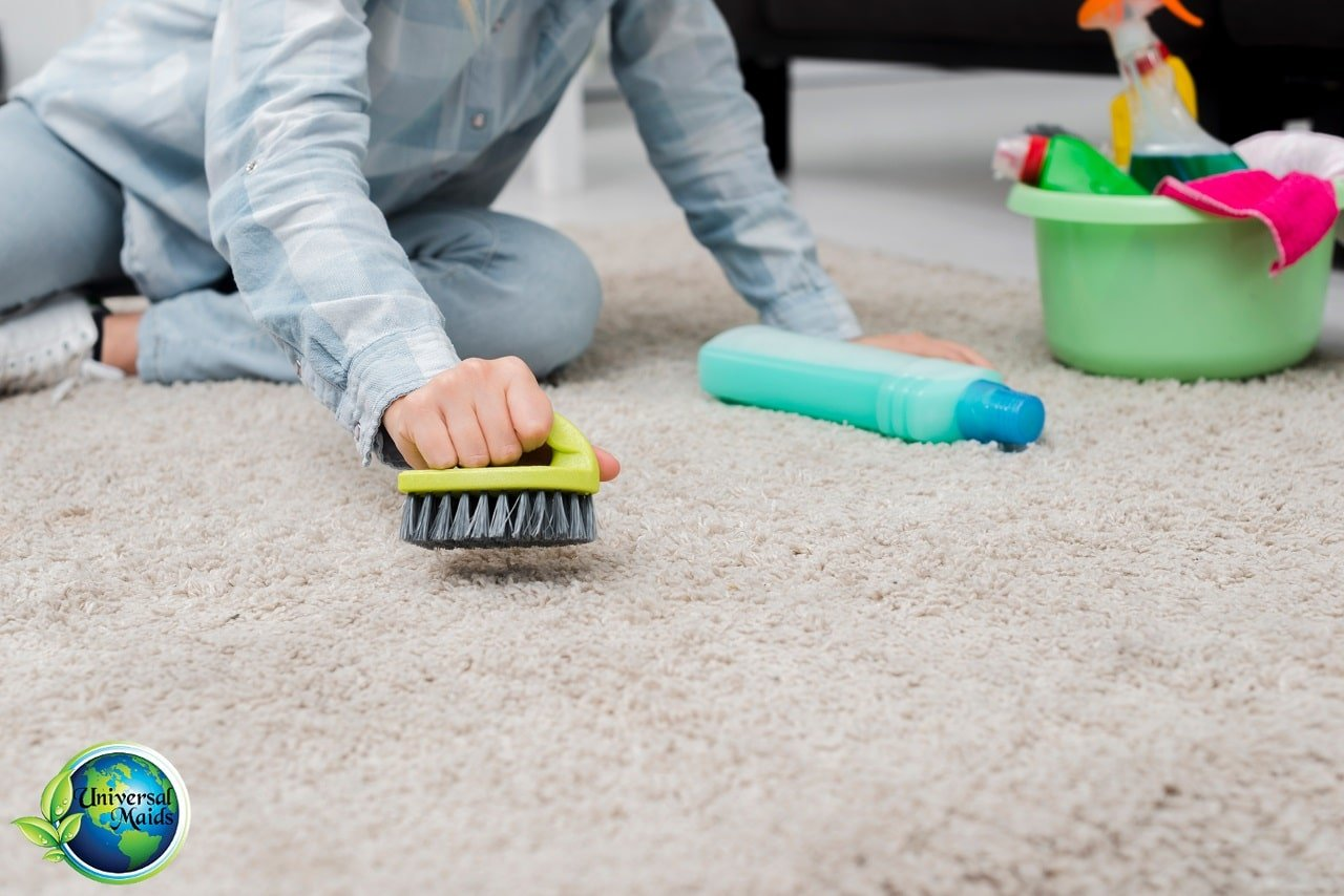 A maid is cleaning the carpet.