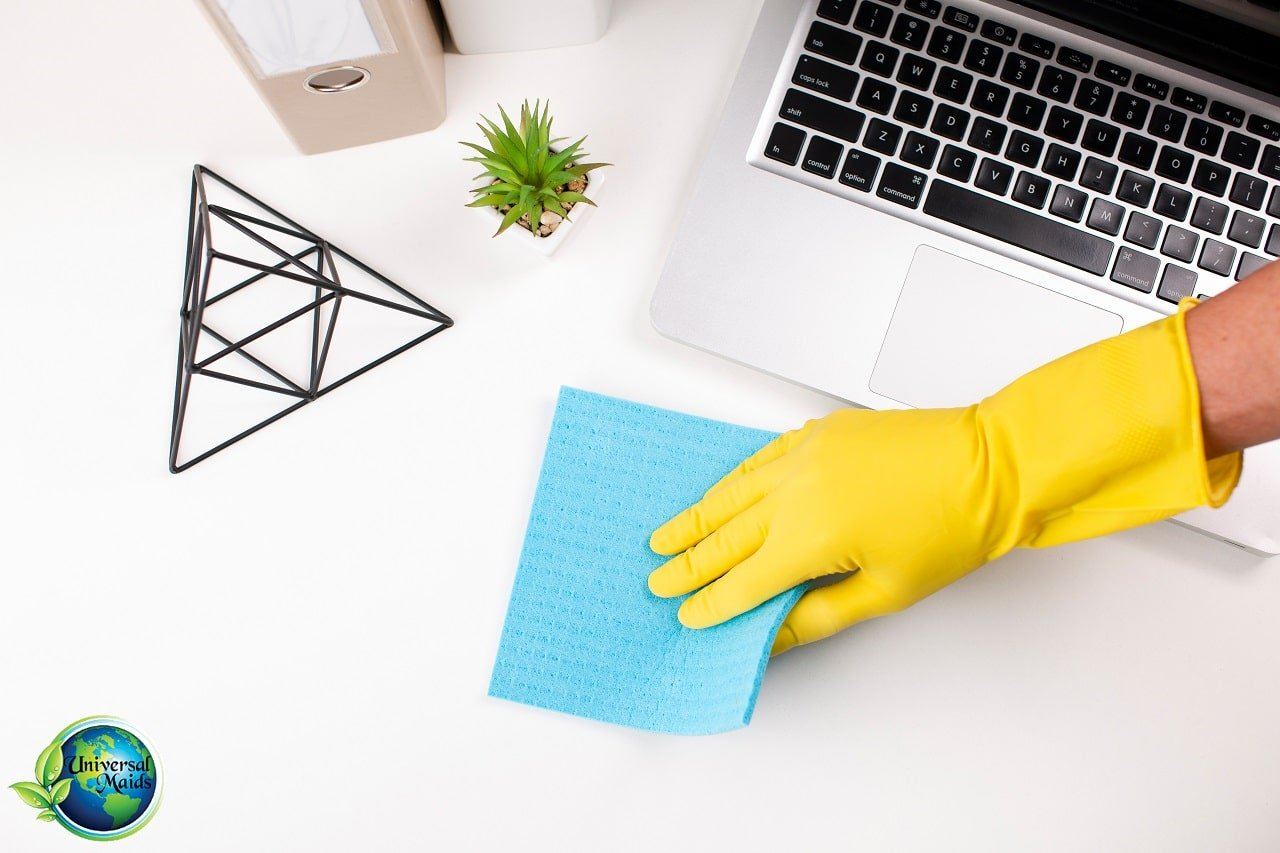 Commercial cleaning yellow gloves