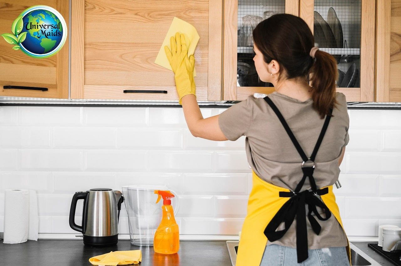 A woman is doing a deep cleaning.