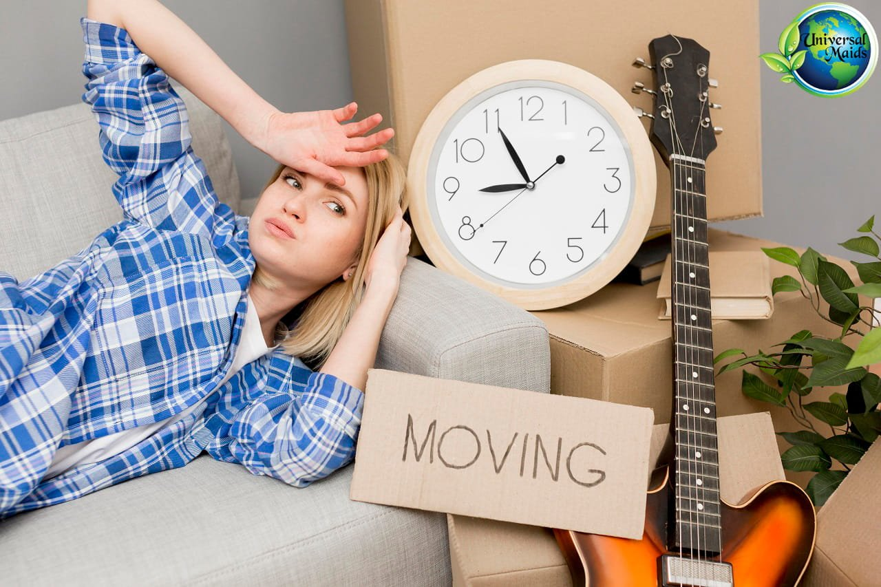 young woman is worry about moving