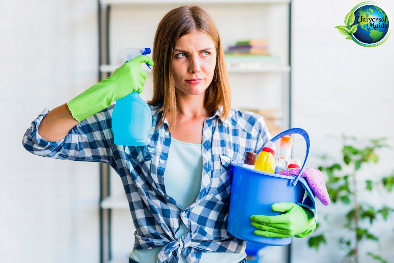 A woman is sad about house cleaning